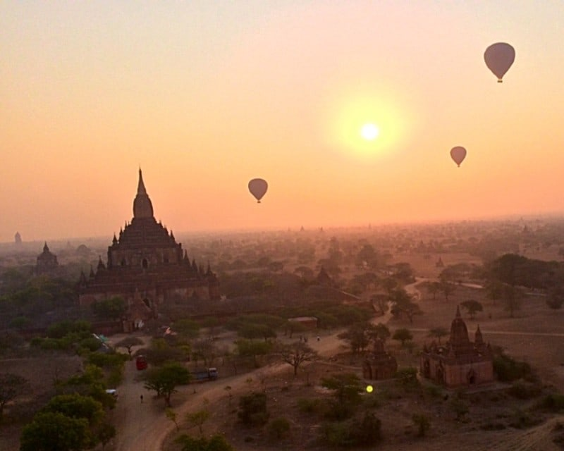 Ballons over bagan sunrise square