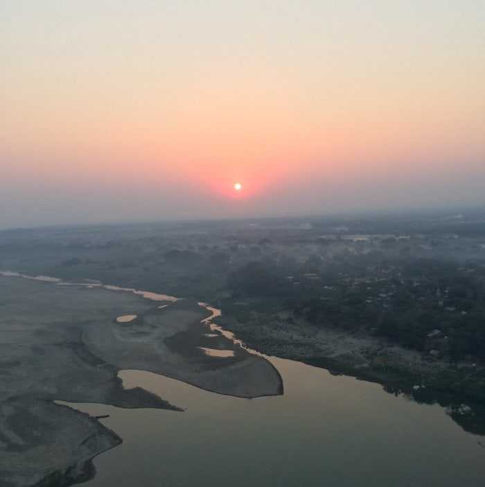 sunrise over Bagan from hot air balloon