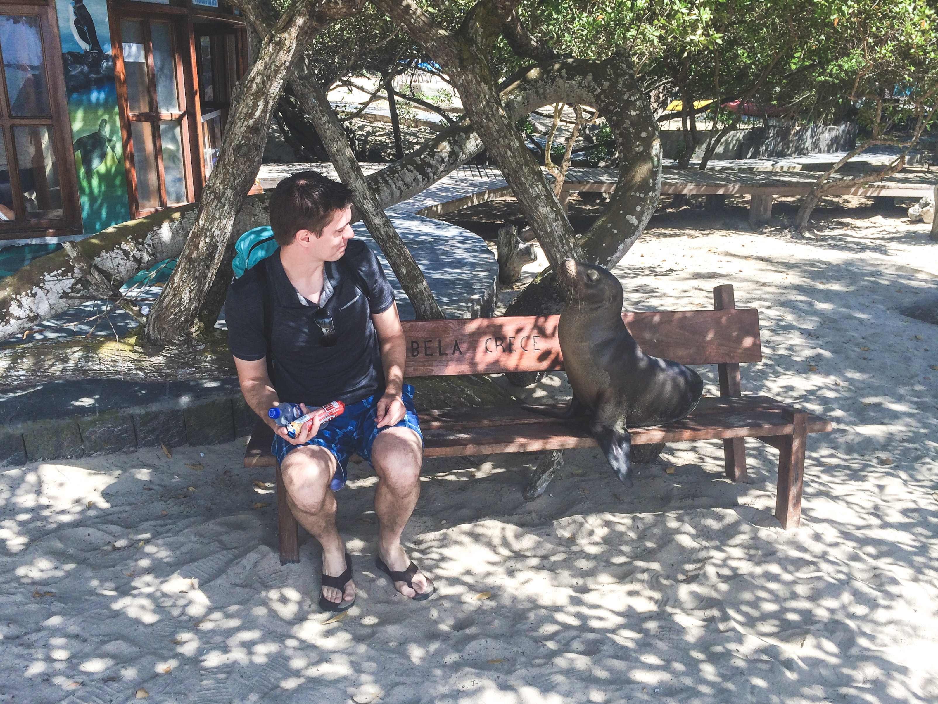 John and Seal on a bench in the Galapagos
